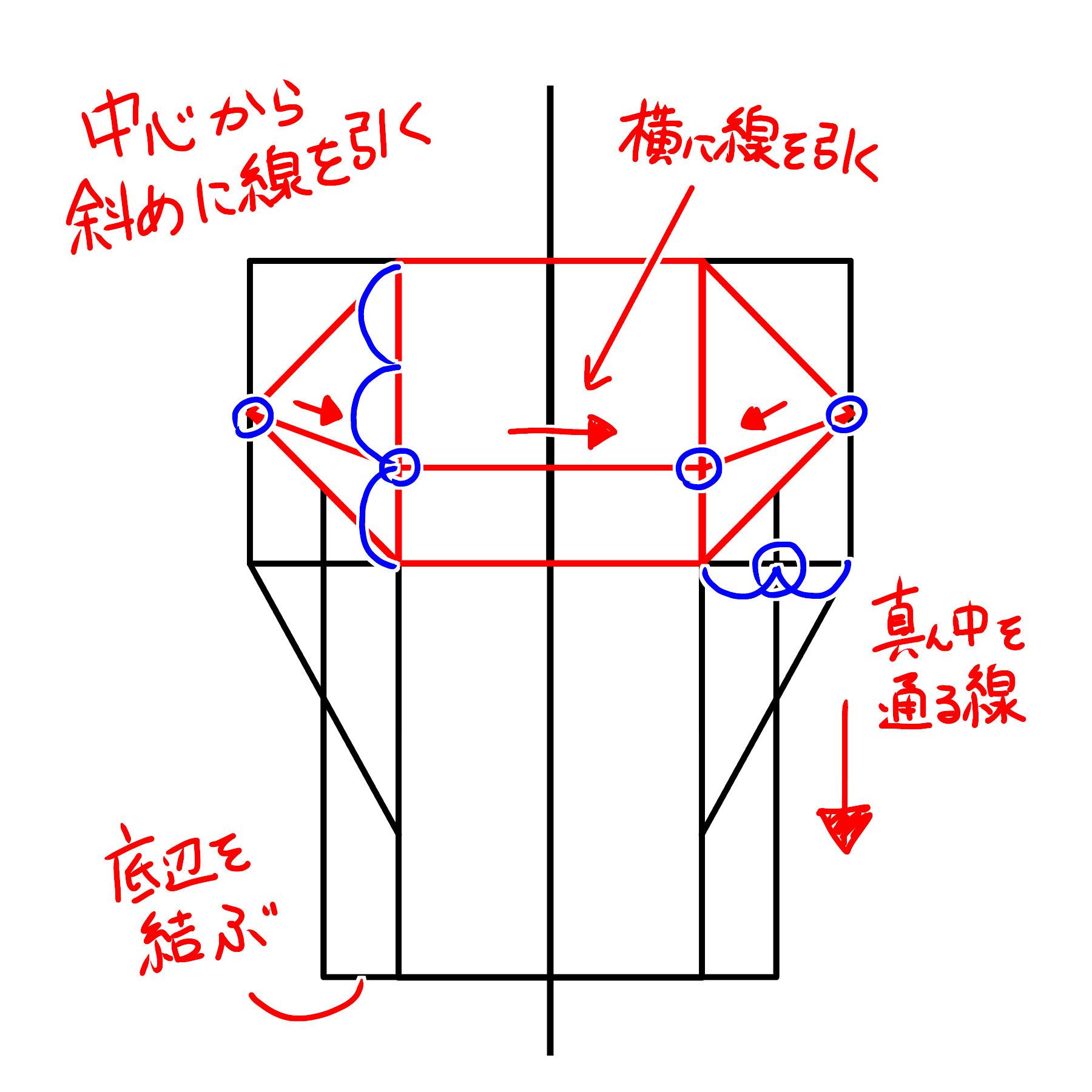横の長方形の長辺を4等分した点を結んだ四角形の辺を3等分した点から横に線を引き、その点から横の短辺の中心点へ斜めの線を引きます。また、横の長方形の長辺を4等分した辺の中心を通るように線を縦の長方形の底辺まで引き、底辺同士を結びます。