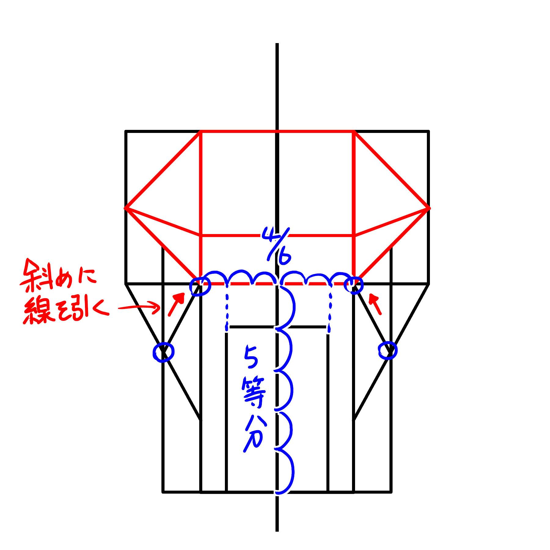 縦の長方形の内側に短辺の6分の4分になる長方形を長辺を5等分したところから描きます。 横の長方形の短辺から縦の長方形の3等分した点に引いた線と、横の長方形の長辺を4等分した辺の中心を通るように引いた線が交わる点から、横の長方形の長辺の4等分した点に線を引きます。
